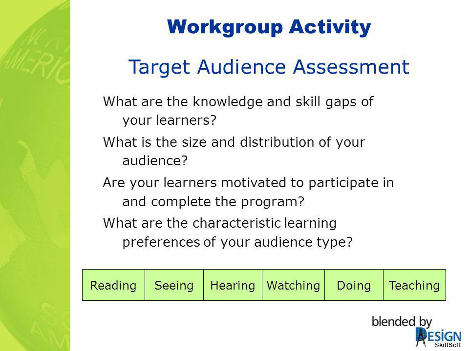 SkillSoft Workgroup Activity SkillSoft Target Audience Assessment What are the knowledge and skill gaps of your learners? What is the size and distrib
