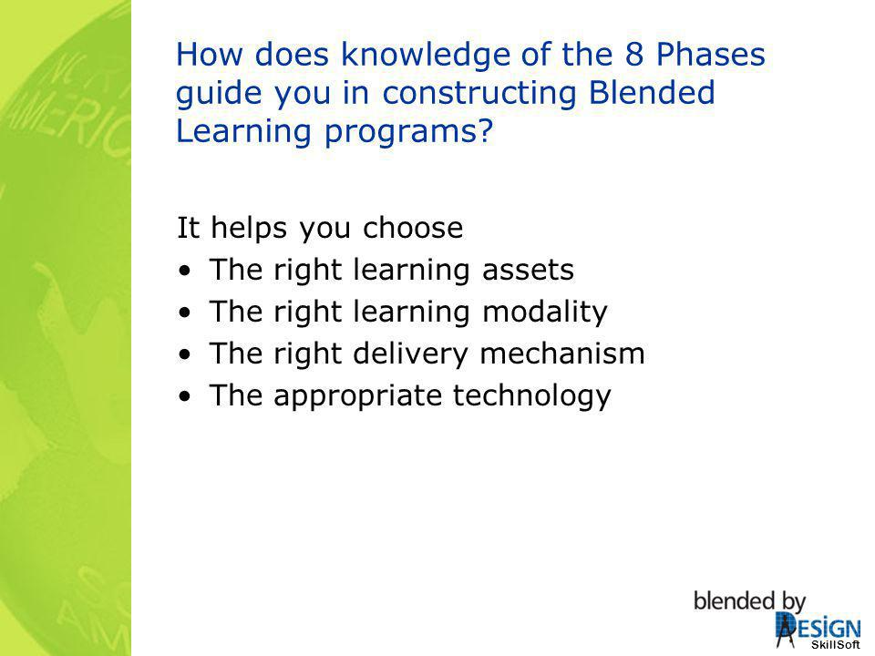 SkillSoft How does knowledge of the 8 Phases guide you in constructing Blended Learning programs? It helps you choose The right learning assets The ri