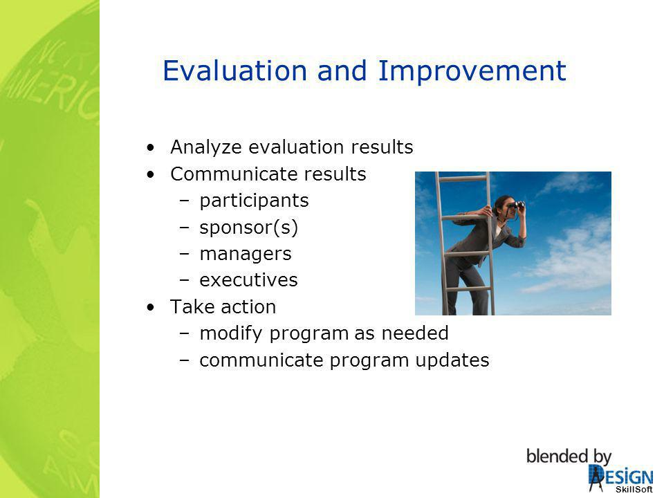 SkillSoft Evaluation and Improvement Analyze evaluation results Communicate results –participants –sponsor(s) –managers –executives Take action –modif