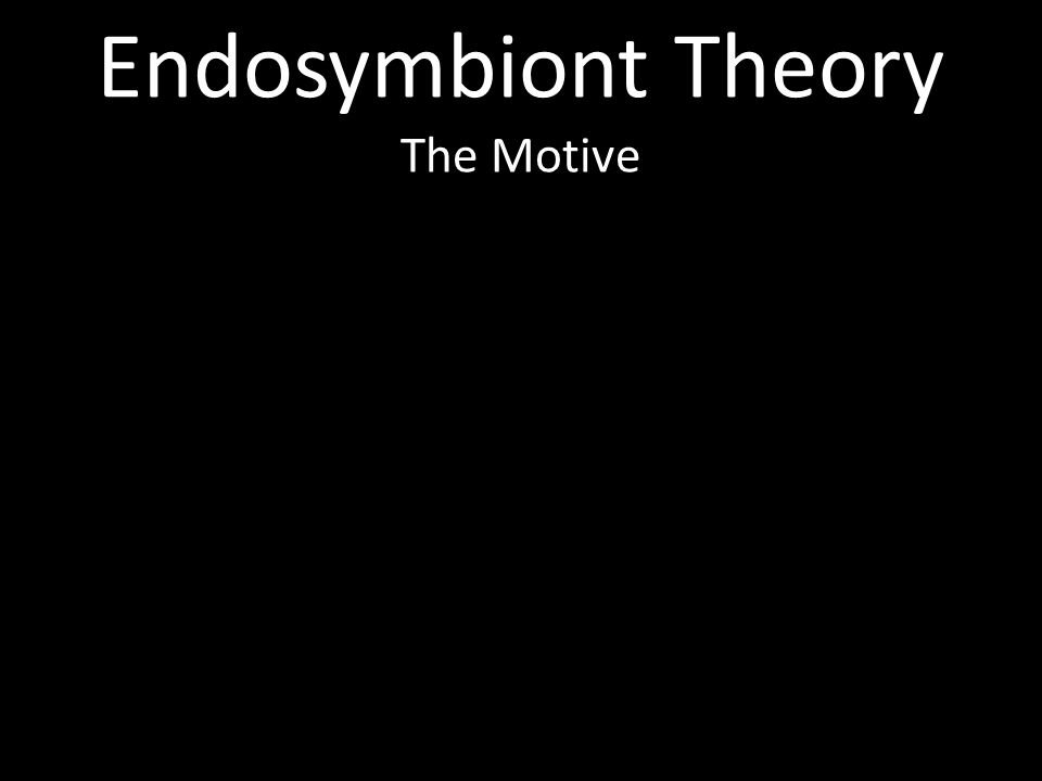 Endosymbiont Theory The Motive