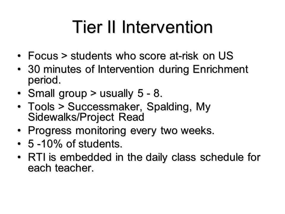 Tier II Intervention Focus > students who score at-risk on USFocus > students who score at-risk on US 30 minutes of Intervention during Enrichment period.30 minutes of Intervention during Enrichment period.