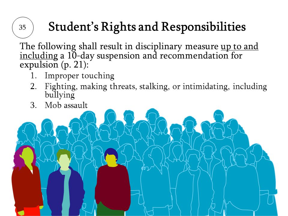 Students Rights and Responsibilities The following shall result in disciplinary measure up to and including a 10-day suspension and recommendation for