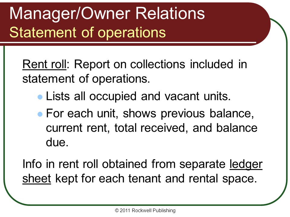 Manager/Owner Relations Statement of operations Rent roll: Report on collections included in statement of operations. Lists all occupied and vacant un