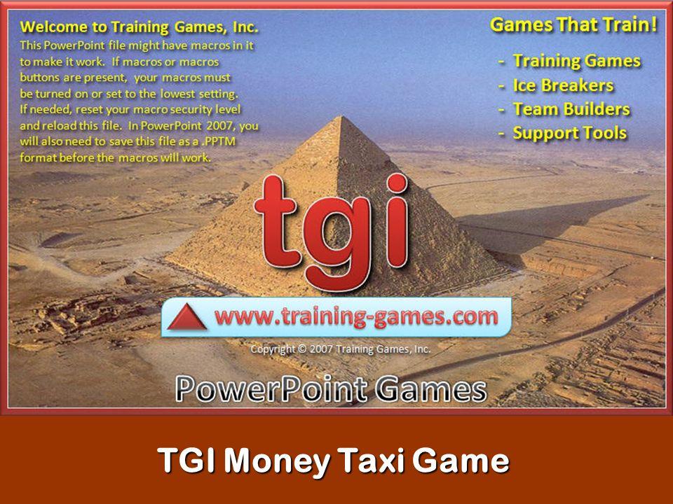 TGI Money Taxi Game
