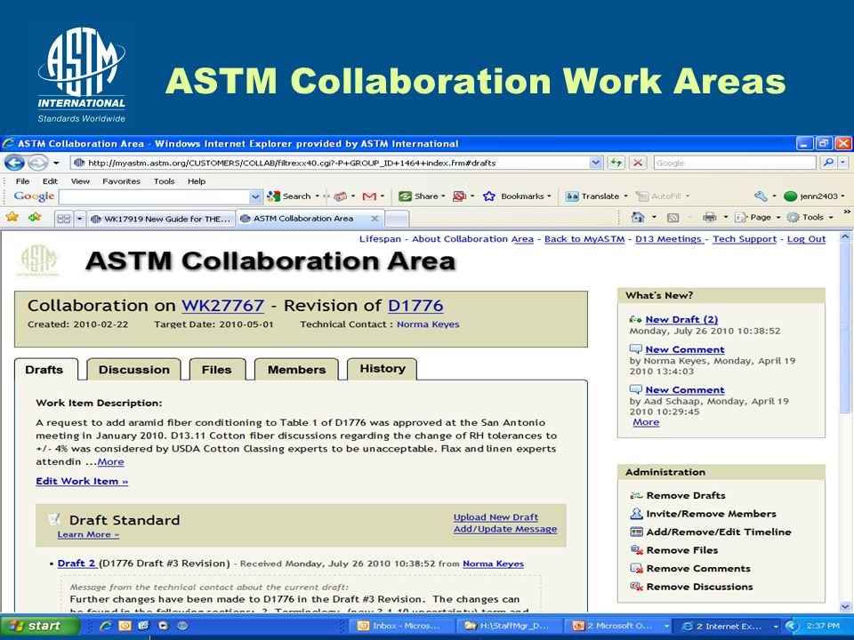 18 ASTM Collaboration Work Areas