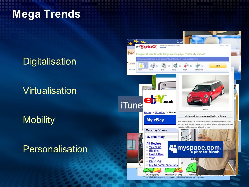 Mega Trends Digitalisation Virtualisation Mobility Personalisation