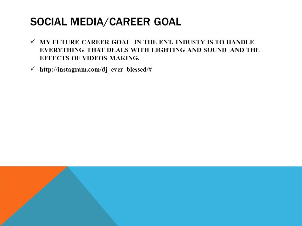 SOCIAL MEDIA/CAREER GOAL MY FUTURE CAREER GOAL IN THE ENT.