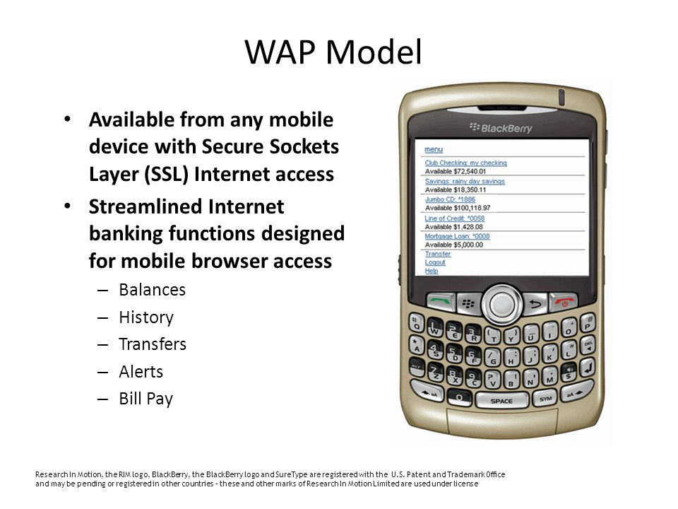Available from any mobile device with Secure Sockets Layer (SSL) Internet access Streamlined Internet banking functions designed for mobile browser access – Balances – History – Transfers – Alerts – Bill Pay Research In Motion, the RIM logo, BlackBerry, the BlackBerry logo and SureType are registered with the U.S.