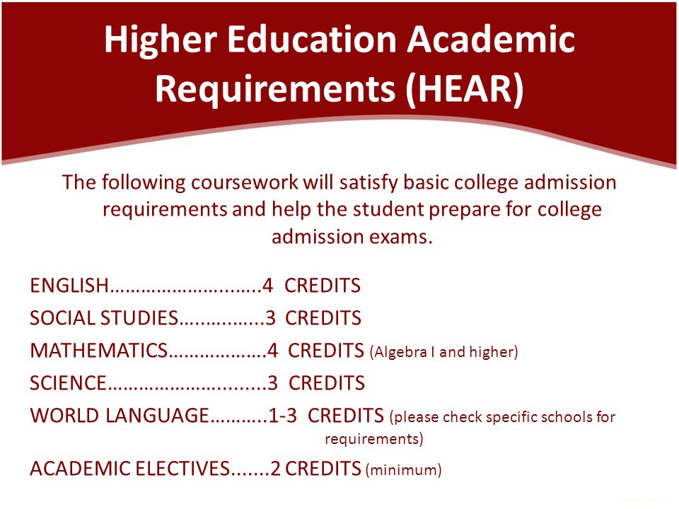 Higher Education Academic Requirements (HEAR) The following coursework will satisfy basic college admission requirements and help the student prepare