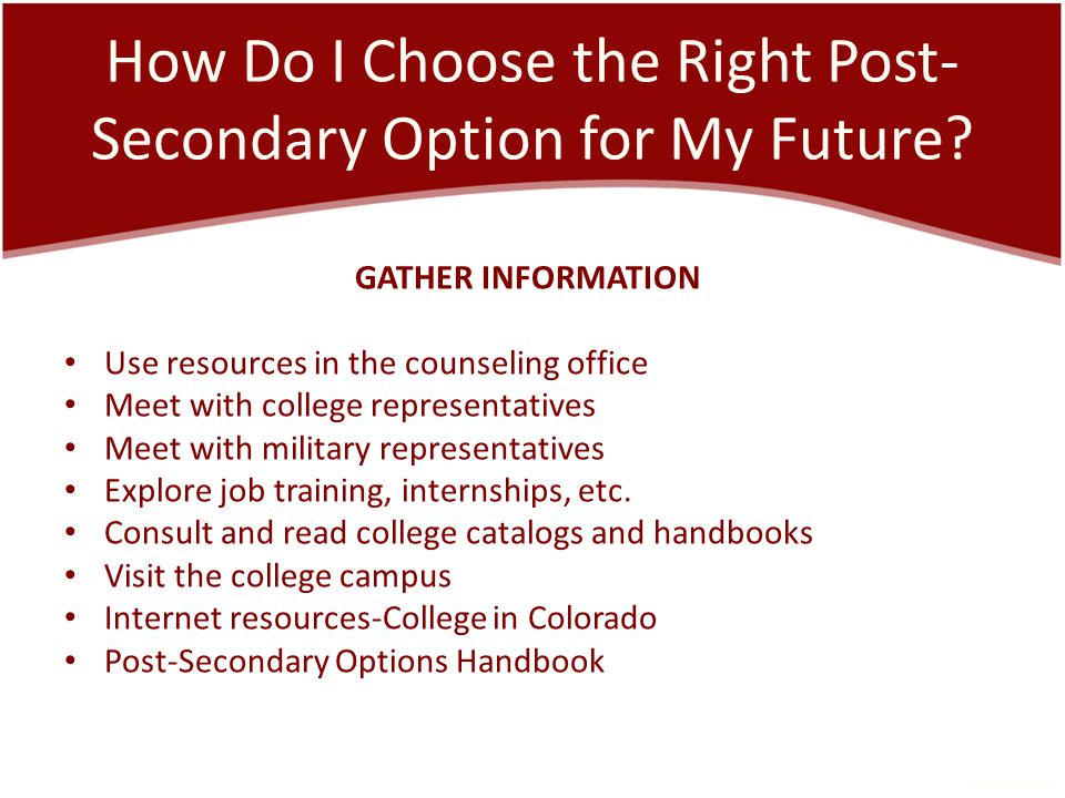 How Do I Choose the Right Post- Secondary Option for My Future.