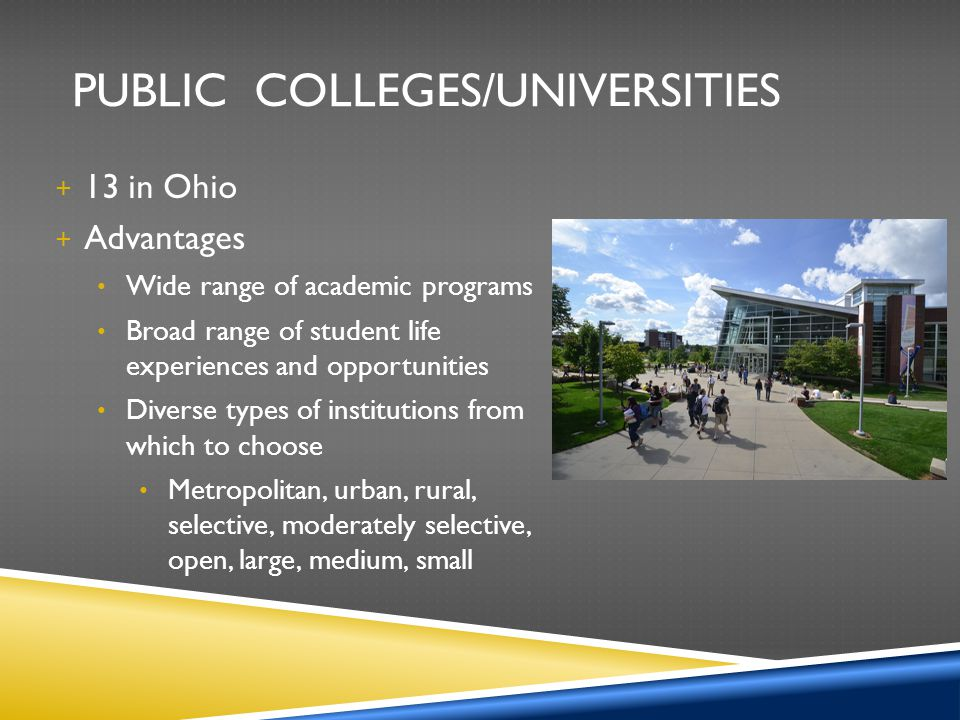 PUBLIC COLLEGES/UNIVERSITIES + 13 in Ohio + Advantages Wide range of academic programs Broad range of student life experiences and opportunities Diver
