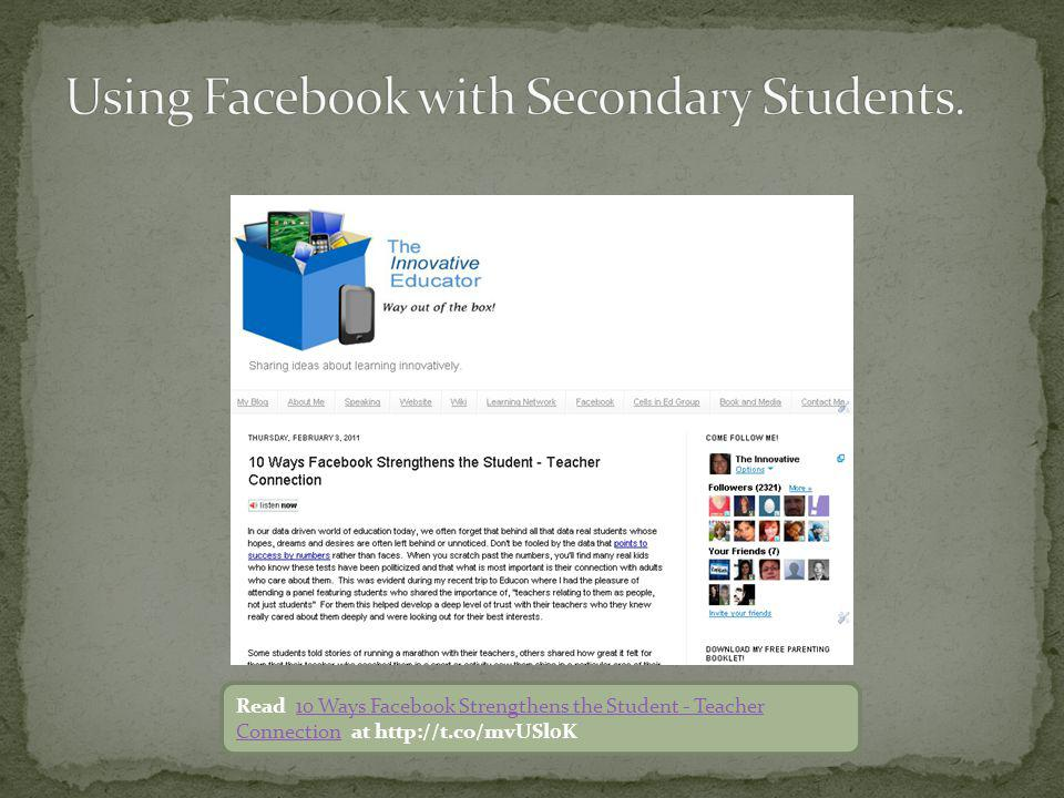 Read 10 Ways Facebook Strengthens the Student - Teacher Connection at http://t.co/mvUSl0K10 Ways Facebook Strengthens the Student - Teacher Connection