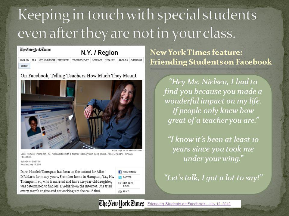 New York Times feature: Friending Students on Facebook Hey Ms.