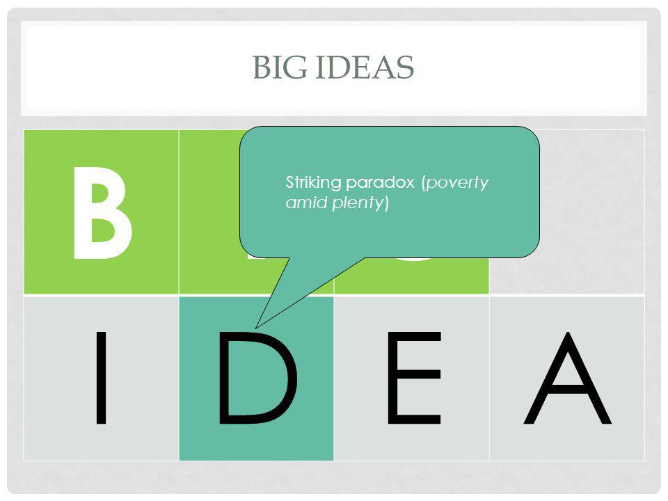 BIG IDEAS BIG IDEA Striking paradox (poverty amid plenty)
