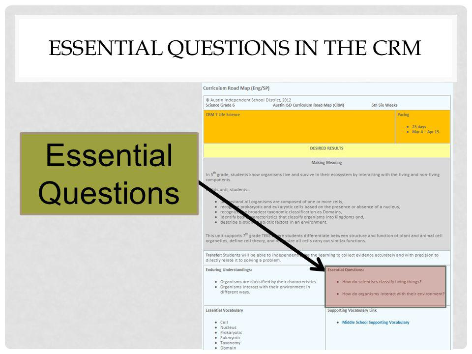 ESSENTIAL QUESTIONS IN THE CRM Essential Questions