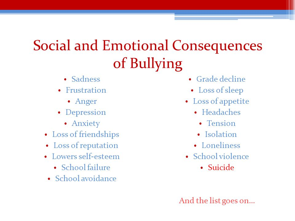 Social and Emotional Consequences of Bullying Sadness Frustration Anger Depression Anxiety Loss of friendships Loss of reputation Lowers self-esteem School failure School avoidance Grade decline Loss of sleep Loss of appetite Headaches Tension Isolation Loneliness School violence Suicide And the list goes on…