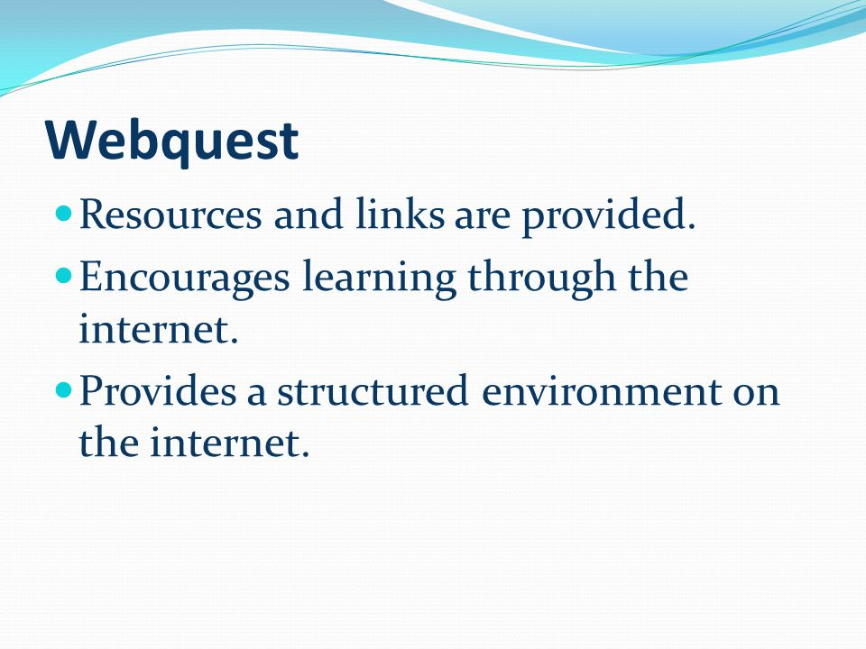 Webquest Resources and links are provided. Encourages learning through the internet.