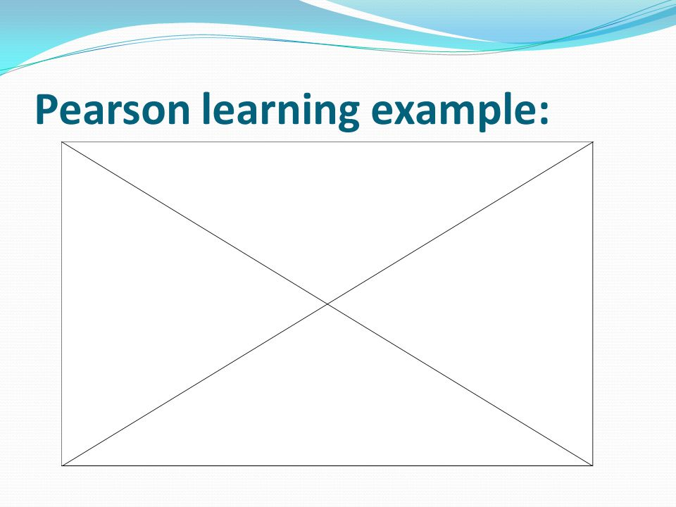 Pearson learning example:
