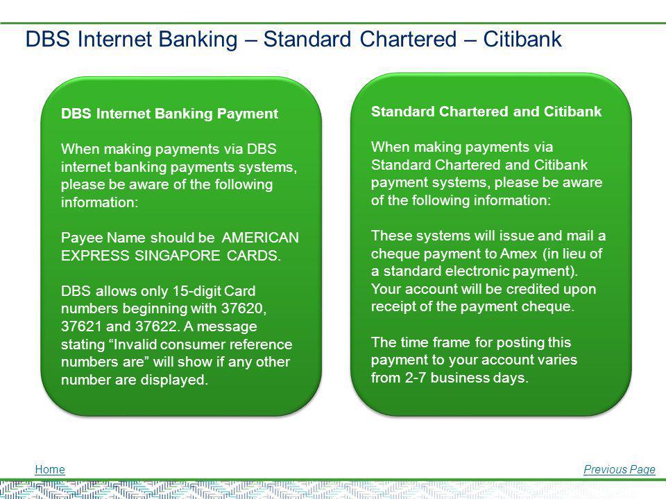 DBS Internet Banking – Standard Chartered – Citibank DBS Internet Banking Payment When making payments via DBS internet banking payments systems, plea