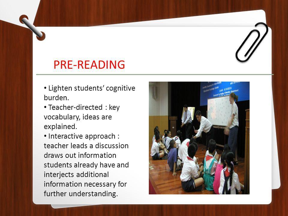 Lighten students cognitive burden. Teacher-directed : key vocabulary, ideas are explained.