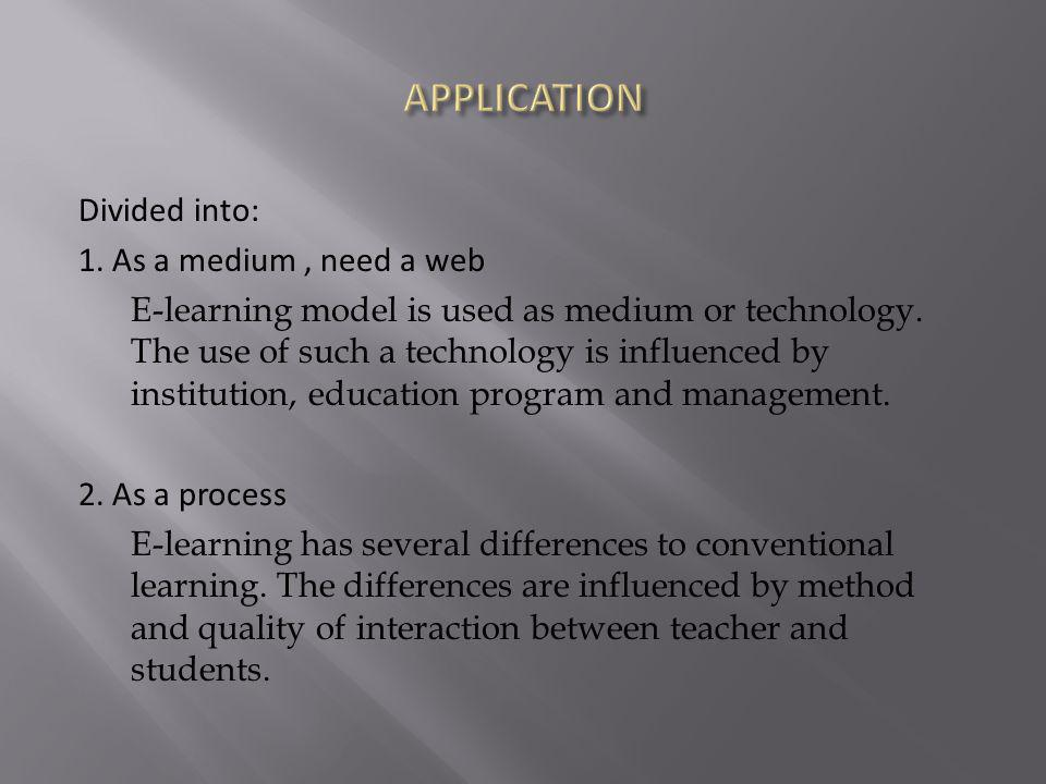 Divided into: 1. As a medium, need a web E-learning model is used as medium or technology.
