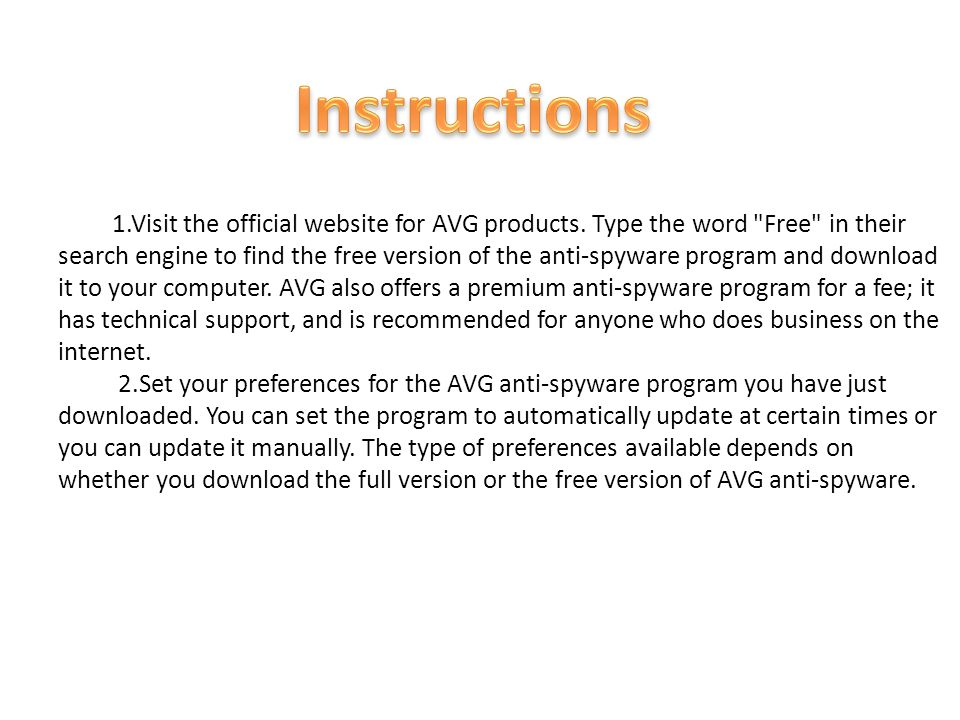 1.Visit the official website for AVG products. Type the word