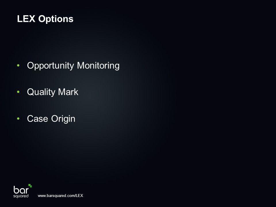 Opportunity Monitoring Quality Mark Case Origin www.barsquared.com/LEX LEX Options
