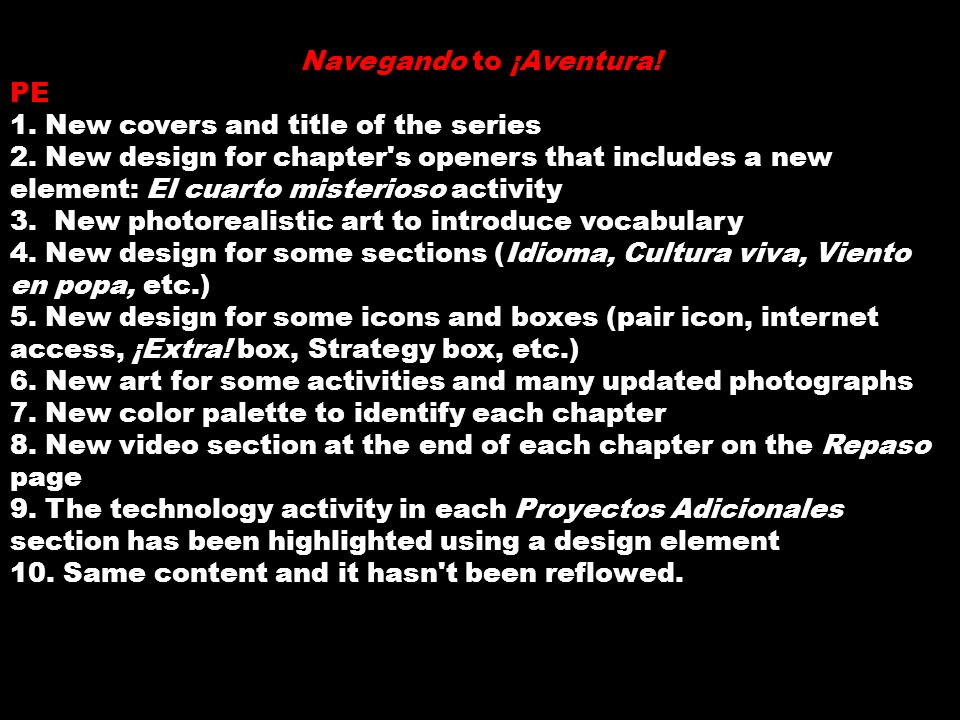 Navegando to ¡Aventura. PE 1. New covers and title of the series 2.