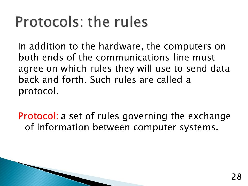 In addition to the hardware, the computers on both ends of the communications line must agree on which rules they will use to send data back and forth.
