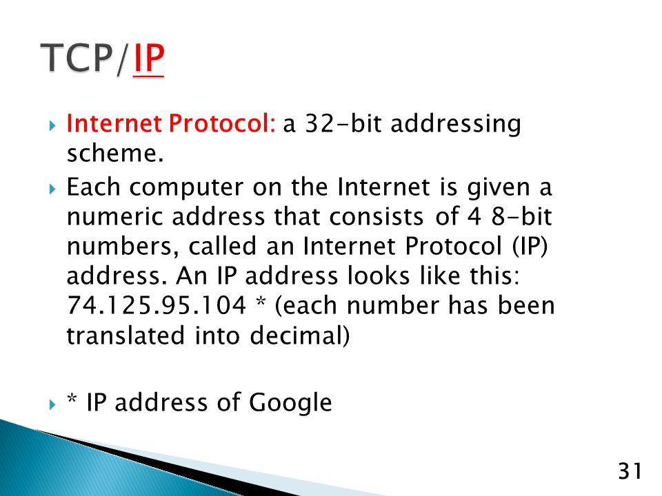 Internet Protocol: a 32-bit addressing scheme.