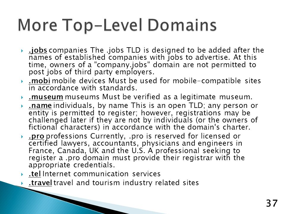.jobs companies The.jobs TLD is designed to be added after the names of established companies with jobs to advertise.