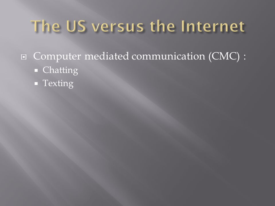 Computer mediated communication (CMC) : Chatting Texting