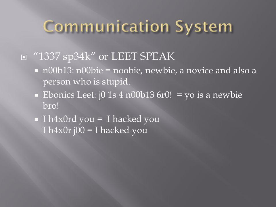 1337 sp34k or LEET SPEAK n00b13: n00bie = noobie, newbie, a novice and also a person who is stupid. Ebonics Leet: j0 1s 4 n00b13 6r0! = yo is a newbie