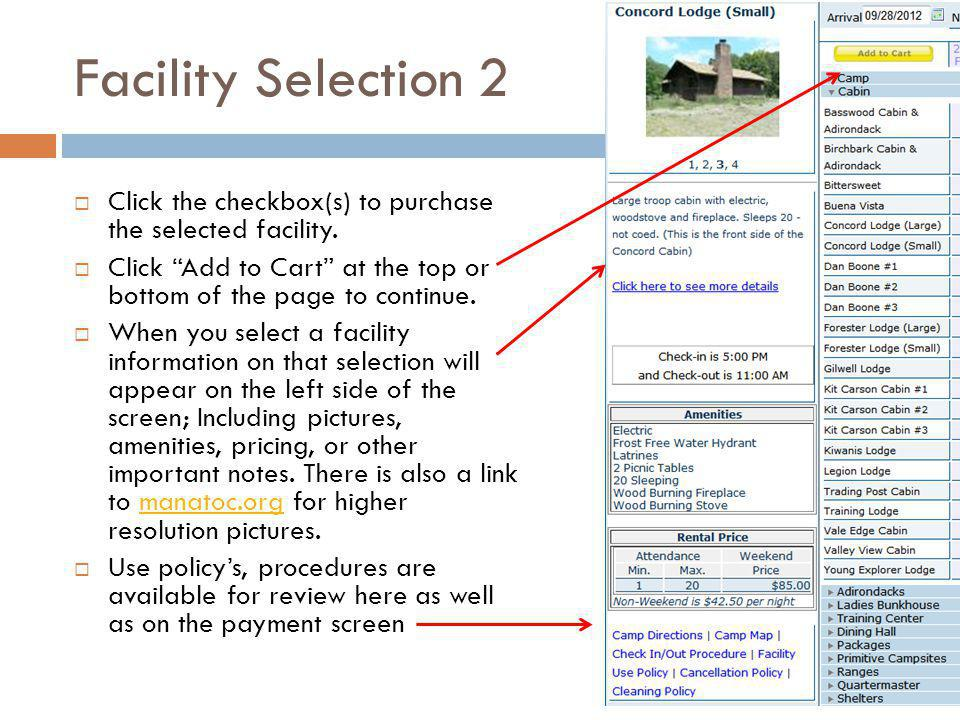 Facility Selection 2 Click the checkbox(s) to purchase the selected facility.