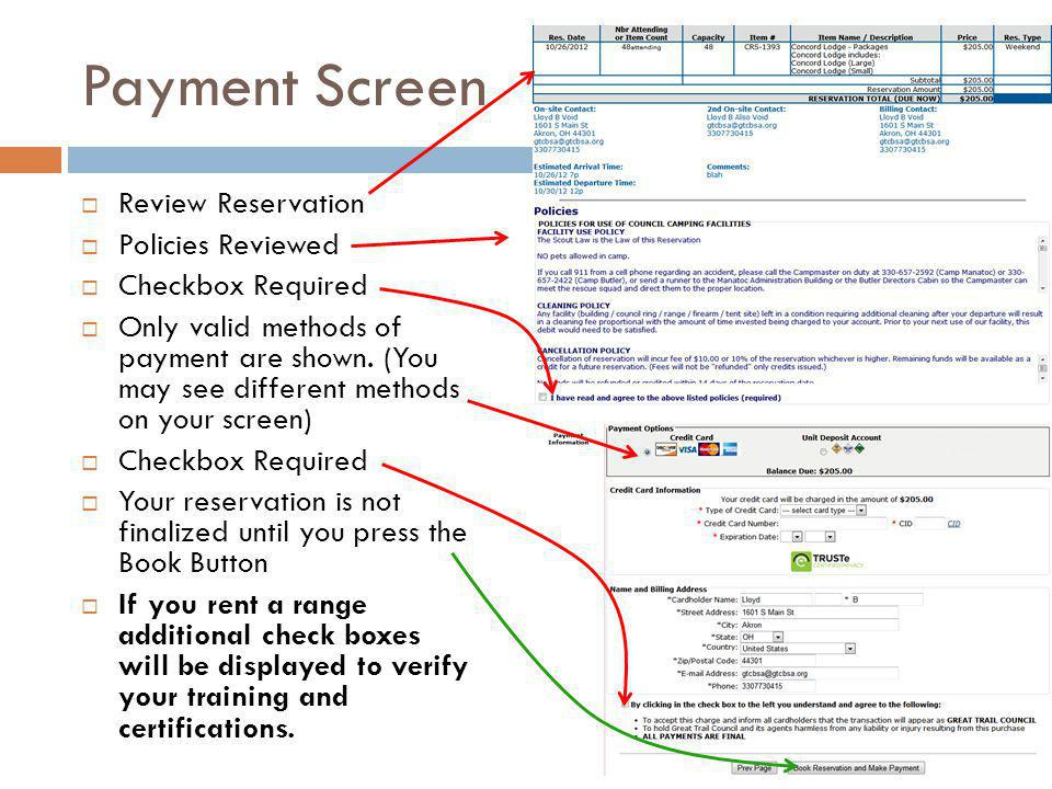 Payment Screen Review Reservation Policies Reviewed Checkbox Required Only valid methods of payment are shown.