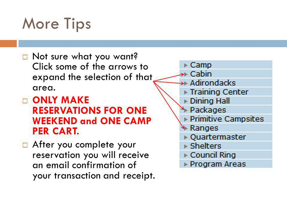 More Tips Not sure what you want. Click some of the arrows to expand the selection of that area.