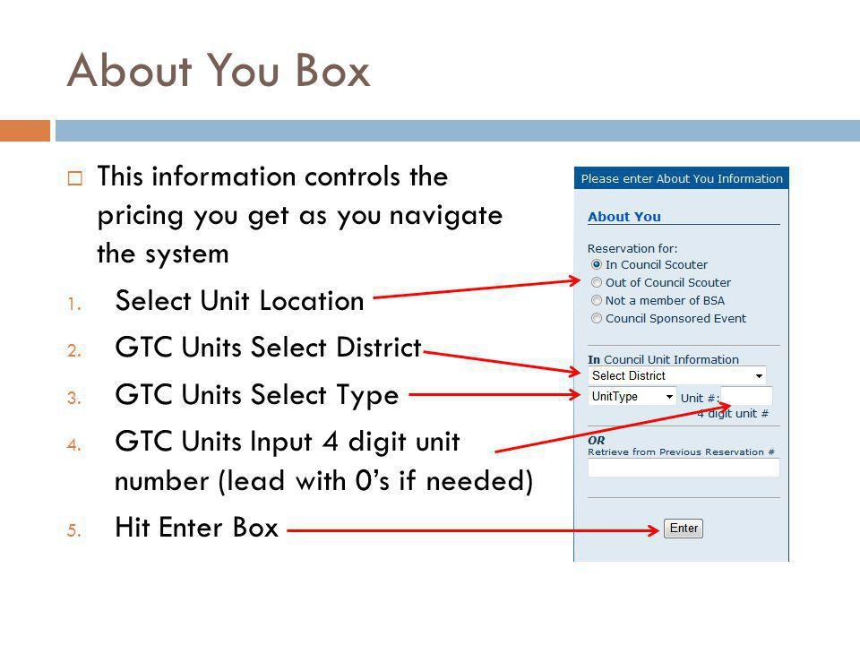 About You Box This information controls the pricing you get as you navigate the system 1.