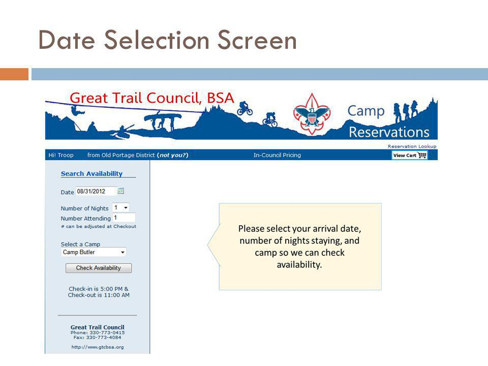 Date Selection Screen