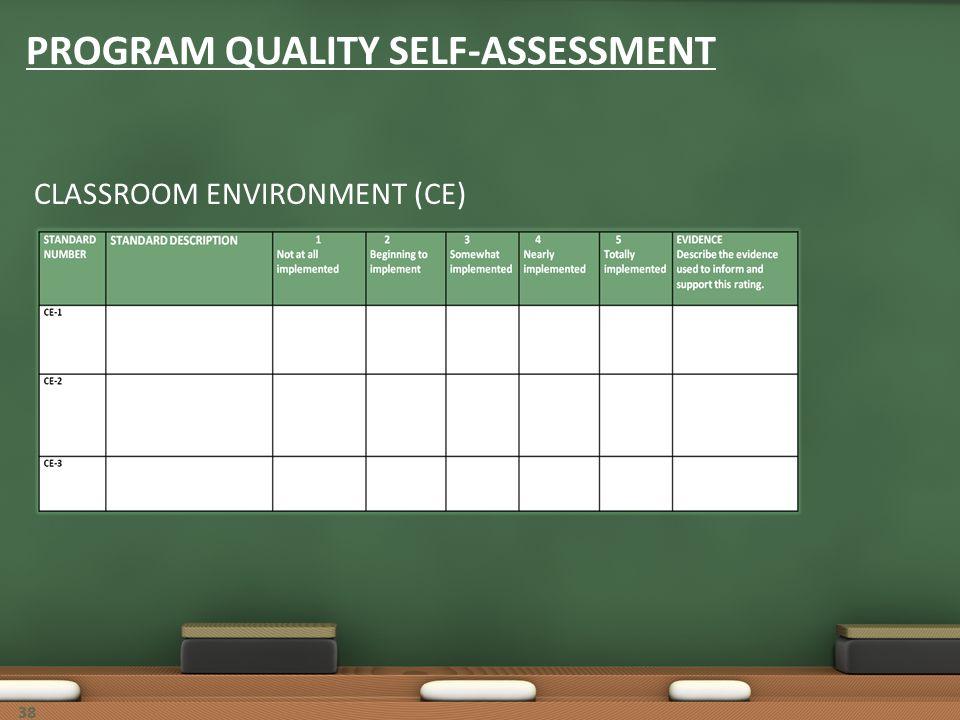 38 PROGRAM QUALITY SELF-ASSESSMENT CLASSROOM ENVIRONMENT (CE)