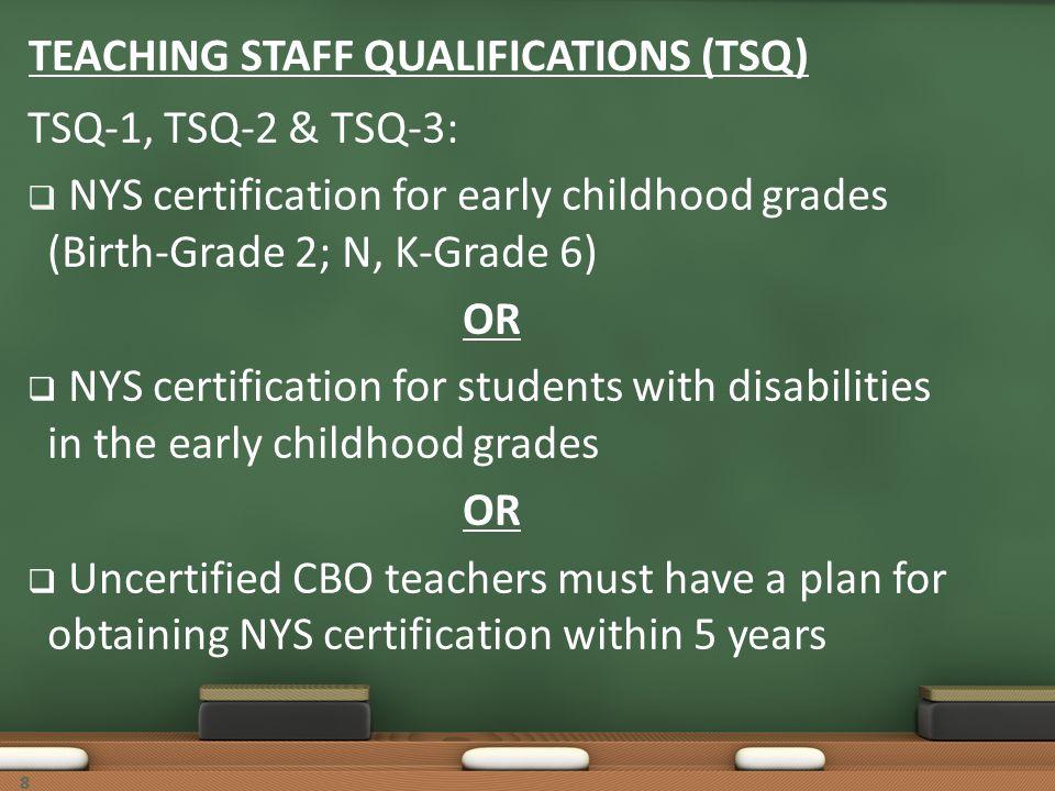 88 TEACHING STAFF QUALIFICATIONS (TSQ) TSQ-1, TSQ-2 & TSQ-3: NYS certification for early childhood grades (Birth-Grade 2; N, K-Grade 6) OR NYS certifi