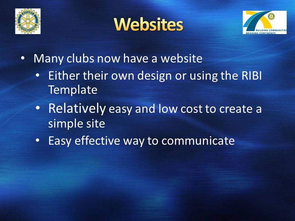 Many clubs now have a website Either their own design or using the RIBI Template Relatively easy and low cost to create a simple site Easy effective way to communicate