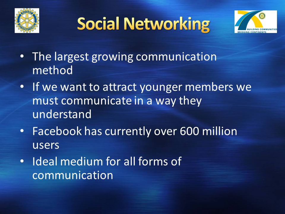 The largest growing communication method If we want to attract younger members we must communicate in a way they understand Facebook has currently over 600 million users Ideal medium for all forms of communication