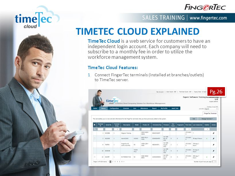 TIMETEC CLOUD EXPLAINED TimeTec Cloud is a web service for customers to have an independent login account. Each company will need to subscribe to a mo