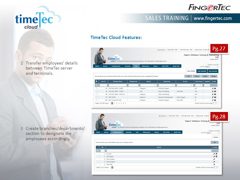 TimeTec Cloud Features: 2Transfer employees details between TimeTec server and terminals. 3Create branches/departments/ section to designate the emplo