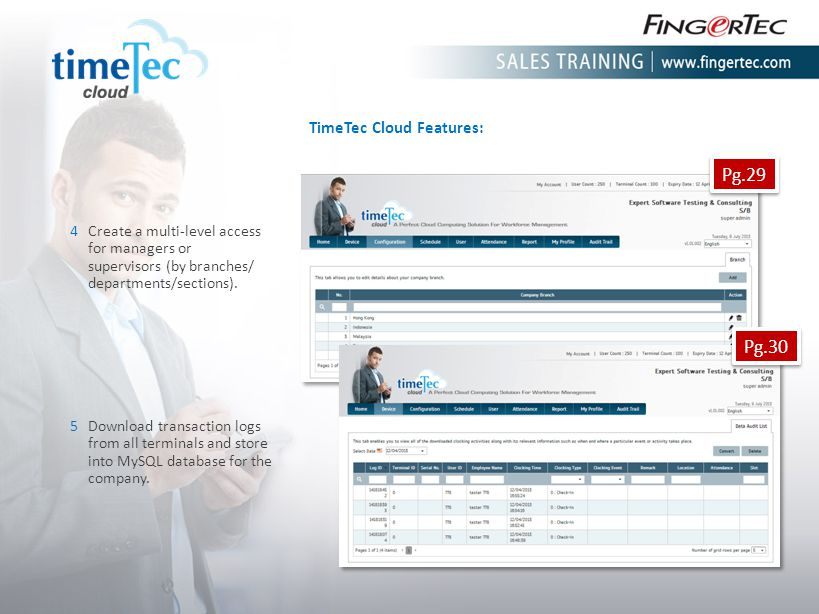 TimeTec Cloud Features: 4Create a multi-level access for managers or supervisors (by branches/ departments/sections). 5Download transaction logs from