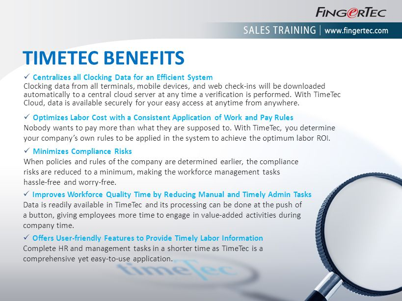 TIMETEC BENEFITS Centralizes all Clocking Data for an Efficient System Clocking data from all terminals, mobile devices, and web check-ins will be dow