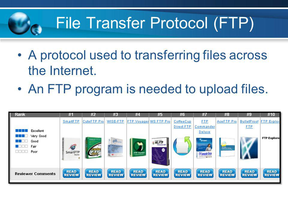 File Transfer Protocol (FTP) A protocol used to transferring files across the Internet. An FTP program is needed to upload files.