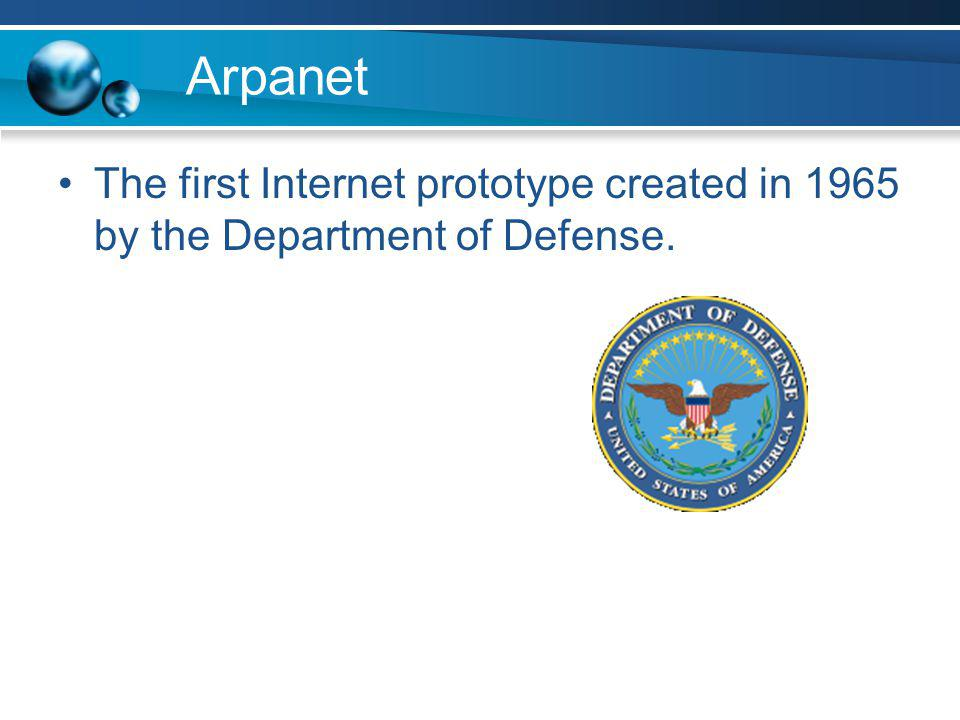 Arpanet The first Internet prototype created in 1965 by the Department of Defense.