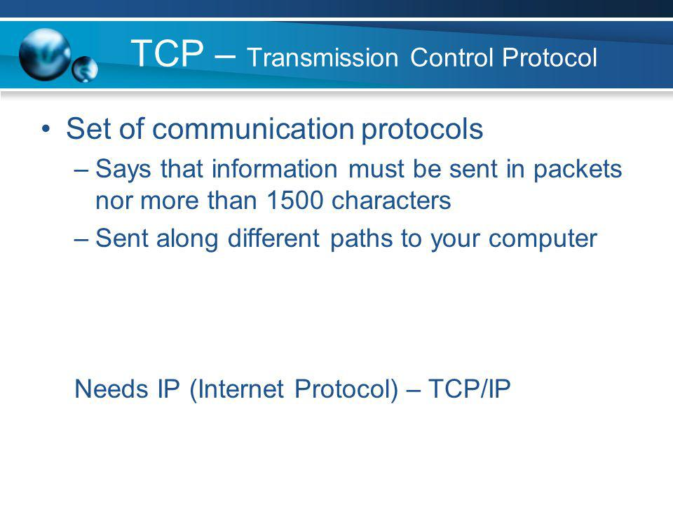 File Transfer Protocol (FTP) A protocol used to transferring files across the Internet.