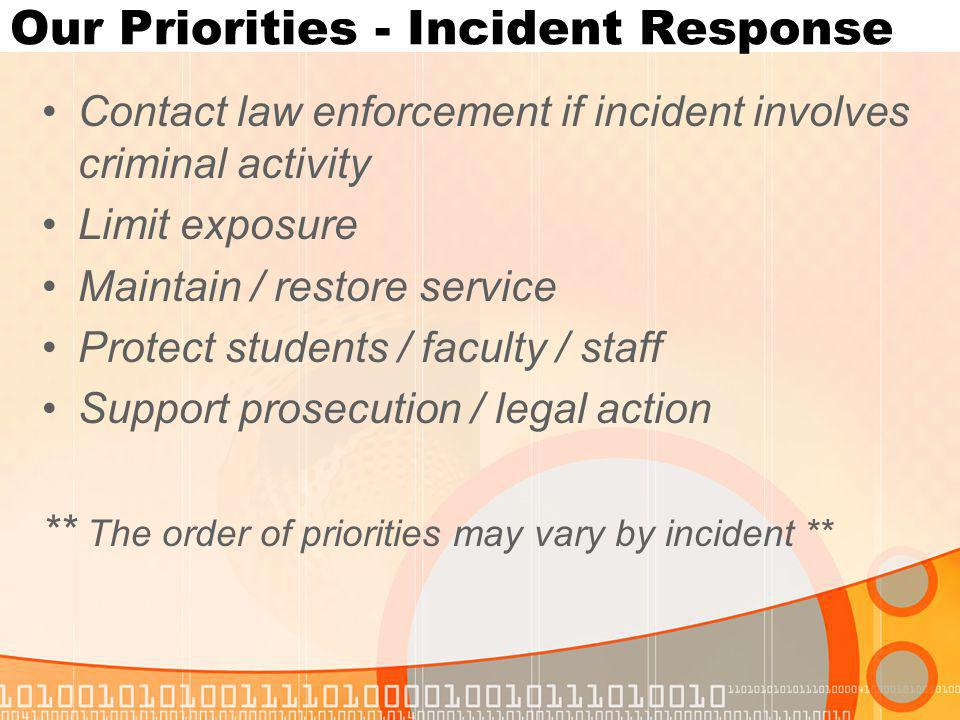 Our Priorities - Incident Response Contact law enforcement if incident involves criminal activity Limit exposure Maintain / restore service Protect students / faculty / staff Support prosecution / legal action ** The order of priorities may vary by incident **